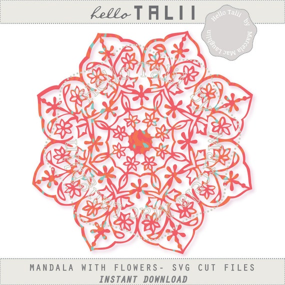 Mandala Svg Cut File Digital Mandala With Flowers Etsy