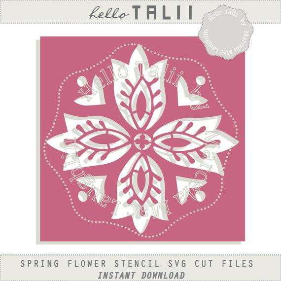 flower stencil svg cut file digital spring flower die cut diy etsy