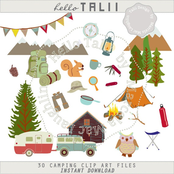 Camping CLIP ART Happy Camper Clipart 30 Hand Drawn Png