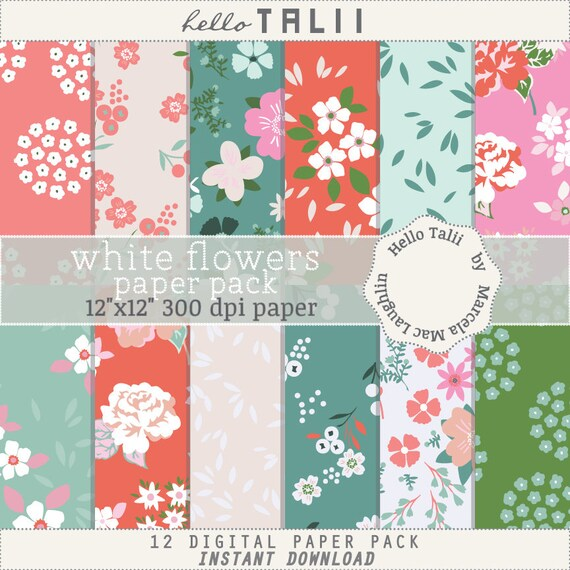 Coral flowers digital paper coral and white flowers coral etsy image 0 mightylinksfo
