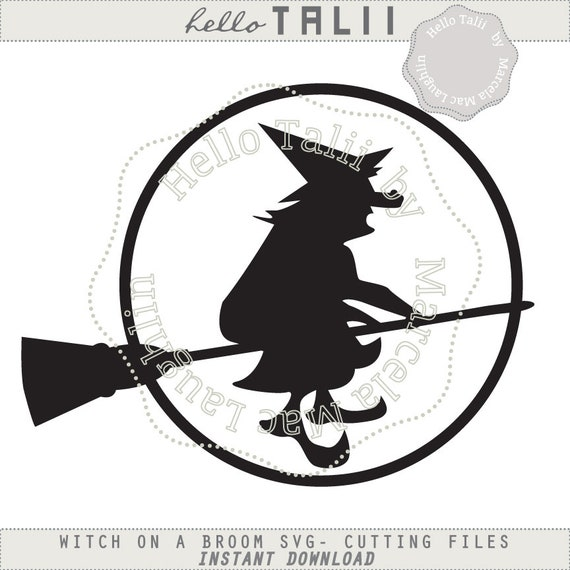 Witch Svg Cut Files Halloween Witch On A Broom Png Clipart Etsy