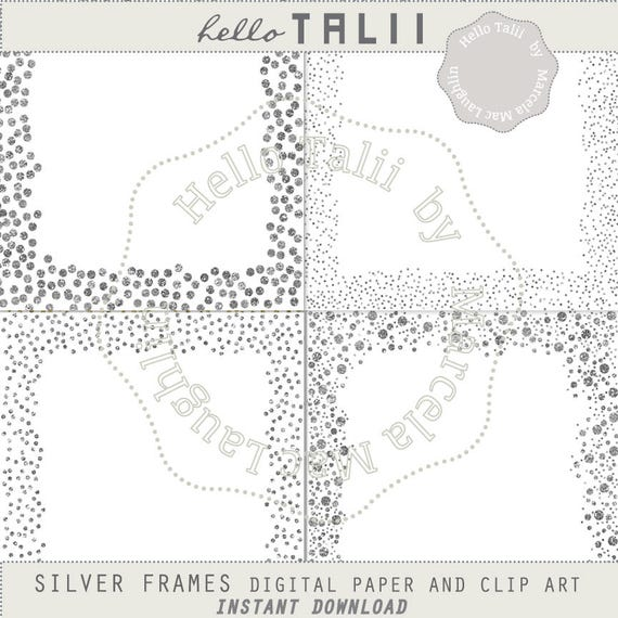 Silver Glitter Frames Clip Art Digital Papers Silver | Etsy