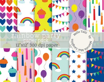 Rainbow Digital Paper RAINBOW PARTY-  Rainbow Birthday Party Paper Bright color Cupcakes Bunting flags Stars Hearts Balloons Candles clipart