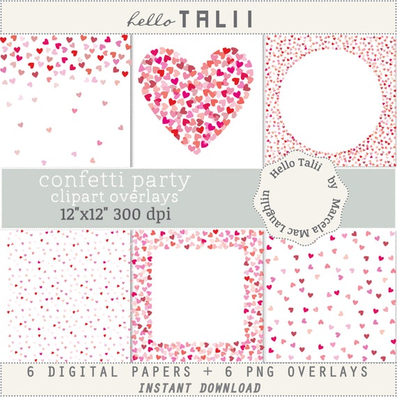 Hearts Overlays Transparent Png Jpg Digital Papers Red Etsy