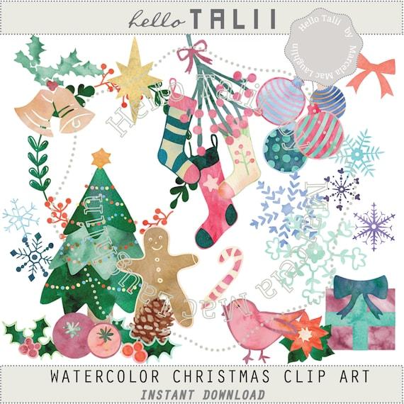 Merry Christmas Clip Art.Watercolor Christmas Clipart Merry Christmas Watercolor Digital Clip Art Wreath Tree Ornaments Balls Snowflakes Bells Vintage Xmas Cards