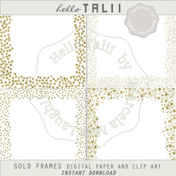 Gold Confetti Frames Clip Art Digital Papers PNG gold | Etsy