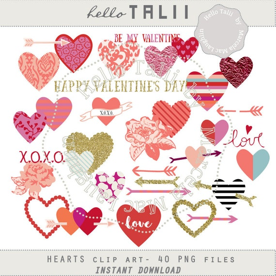 Hearts Clip Art VALENTINE'S DAY Clipart Digital Hearts Etsy Magnificent Valentines Day Images With Quotes