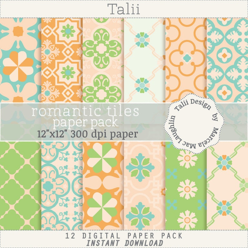 Vintage moroccan tiles Floral backgrounds Pastel colors peach teal pink white for Weddings birthdays baby showers MOSAICS Digital Paper