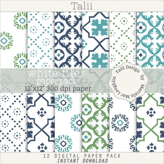 Weisse Fliesen Digital Papier Marokkanischen Spalier Vintage Etsy