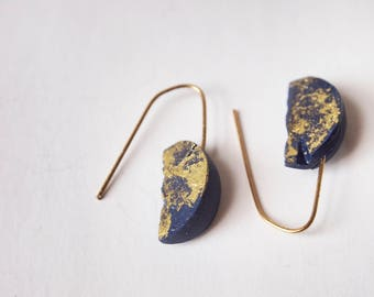 Polymer clay jewelry etsy half moon gold and blue speckled drop earrings polymer clay jewelry aloadofball Image collections
