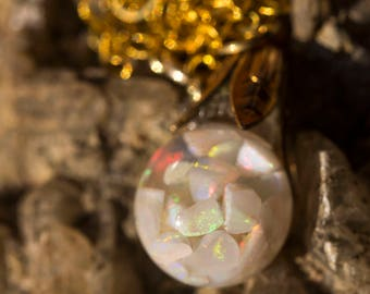 Opal Globe necklace - gold plated