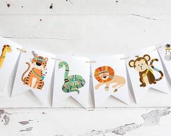 Safari Baby Shower Decoration, Tribal Animal Banner, Safari Nursery Decor, Jungle  Baby Shower Decoration, Tribal Birthday Party, PF006