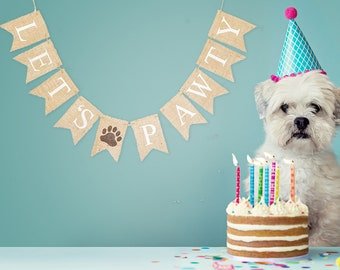 Pet Banner, Dog Banner, Pet Birthday Party Decor, Dog Birthday Party Banner,  Dog's Birthday Party, Let's Pawty Banner, B938