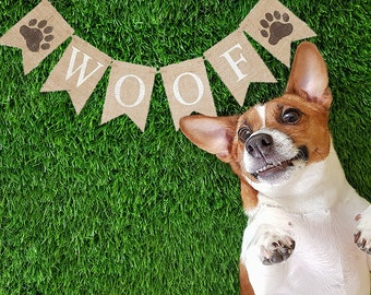 Dog Party Decor, Dog Birthday Banner, Pet Birthday Party Sign, Dog Birthday Party Banner,  Dog's Birthday Party, Woof Banner, B939