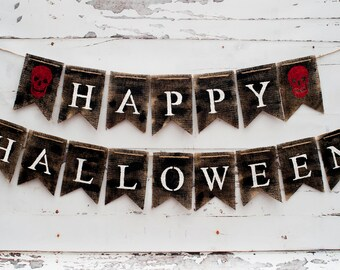 Halloween Banner Halloween Decor, Happy Halloween Banner, Halloween Burlap Banner, Rustic Halloween Banner, B179