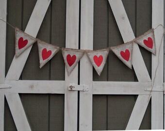 Red Valentines Banner, Valentine's Day Banner, Red Heart Banner, Love Hearts Banner, Burlap Valentine Banner, Love Banner, B401