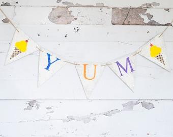 Ice Cream Party Decorations, Ice Cream Yum Banner, Ice Cream Cones Decor, Yum Garland, Summer Birthday Party, Ice Cream Social Decor, B696