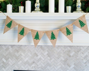 Holiday Banner, Burlap Christmas Banner, Christmas Tree Banners, Christmas Decor, Holiday Decor, Xmas Banners, Decorated Trees Banner, B429