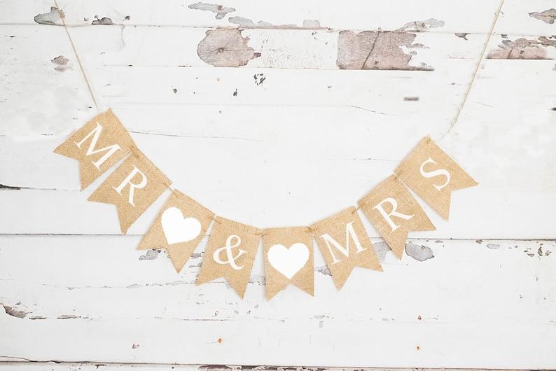Mr and Mrs Banner Wedding Baner B709 Wedding Decorations Wedding Photo Prop Wedding Decor White Heart Mr /& Mrs Banner