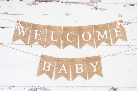 Welcome Baby Banner Baby Shower Banner Pink Baby Shower Etsy