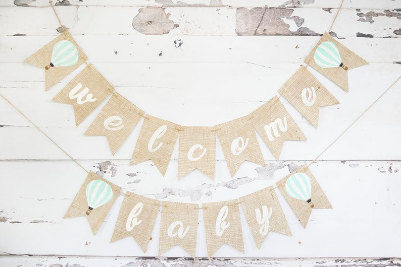 Balloon Shower Garland B721 Hot Air Balloon Welcome Baby Banner Up Up and Away Baby Shower Hot Air Balloon Baby Shower Decor