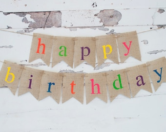 Colorful Happy Birthday Banner, Burlap Happy Birthday Garland, Rainbow Birthday Bunting, B342