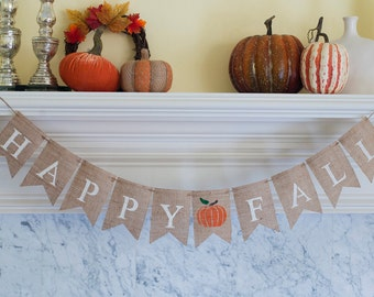 Happy Fall Burlap Banner, Fall Banner, Fall Decor, Fall Photo Prop, B095