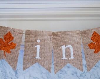Fall Burlap Banner, Fall in Love Banner, Fall Wedding Decor, Fall Decor, Fall Bridal Shower Banner, Fall Wedding Photo Prop, B125
