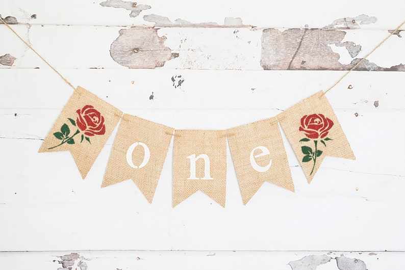 Rose One Banner Floral First Birthday Party Decor Rose Birthday Banner One Banner Flower Birthday Decorations First Birthday Decor B964