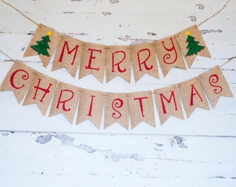 Merry Christmas Banner, Christmas Banner,  Christmas Decor, Christmas Garland, Holiday Banner, Rustic Christmas Burlap Banner, B374
