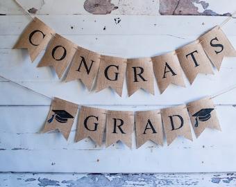 Class of 2017 Banners, Graduation Banner, Graduation Party Decor, Graduation Party Decorations, 2017 Graduation Banners, Burlap Banner, B436