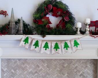 Christmas Banners, Christmas Decorations, Rustic Christmas Burlap Banner, Christmas Decor, Holiday Decor, Christmas Tree Banner, B375