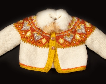 Baby Fur Fairisle Cardigan, 3-6 mts, Rabbit Fur Collar, Handmade in Wales by Ffwr; Luxury Newborn Infant Christmas Birthday Gift Wool Cream