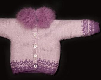 Baby Fur Cardigan, 3-6 mts, Rabbit Fur Collar, Handmade in Wales by Ffwr; Luxury Newborn Infant Christmas Birthday Gift Wool Pink Purple
