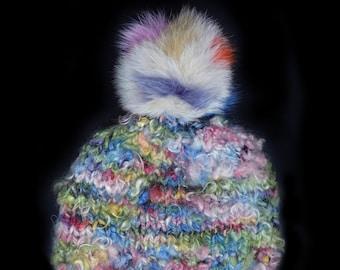Fur Fox Pom Pom Hat, with Wool Knit. Handmade in Wales by Ffwr; Luxury Women Girl Christmas Birthday Gift Multicolour Bright Cream Pastel
