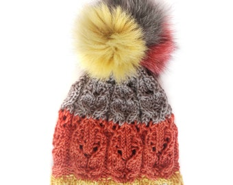 Fur Fox Pom Pom Hat, with Wool Lace Knit. Handmade in Wales by Ffwr; Luxury Women Girl Christmas Birthday Gift Red Grey Brown Mustard Yellow