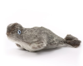 Greenland Seal Fur Cuddly Toy, Handmade to Order in Wales by Ffwr; Luxury Baby Newborn Christmas Birthday Gift Sealskin Inuit Sustainable
