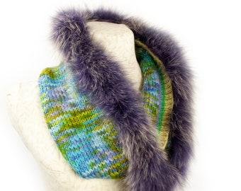 Fox Fur Trim Snood Scarf, with Alpaca Knit. Handmade in Wales by Ffwr; Luxury Women Girl Christmas Birthday Gift Multi Blue Green Purple