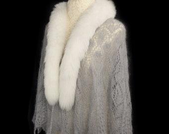 Fox Fur Trim Shawl Scarf, with Mohair Lace Knit. Handmade in Wales by Ffwr; Luxury Women Girl Christmas Birthday Gift White Grey Cobweb Knit