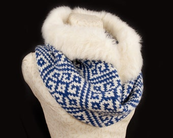 Rabbit Fur Trim Snood Scarf, with Graphic Knit. Handmade in Wales by Ffwr; Luxury Women Girl Christmas Birthday Gift Vintage Wool Blue White