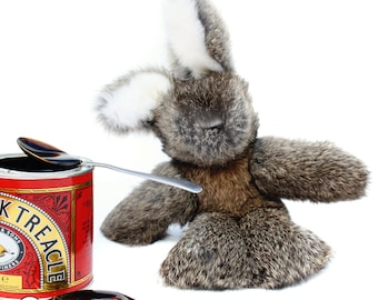 Rabbit Fur Bunny Toy in Wild Treacle, Handmade to Order in Wales by Ffwr; Luxury Woman Girl Christmas Birthday Gift New Brown Natural