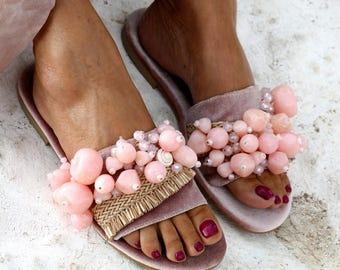 "Sandals ""Sel Rose"" (handmade to order)"