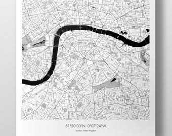 London Map Poster - B&W