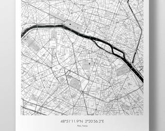 Paris Map Poster - B&W