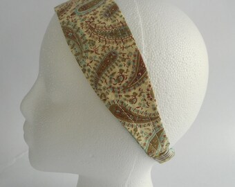 Reversible Cream, Brown, And Mint Paisley With Mint, Yellow, And Tan Vertical Print Headband