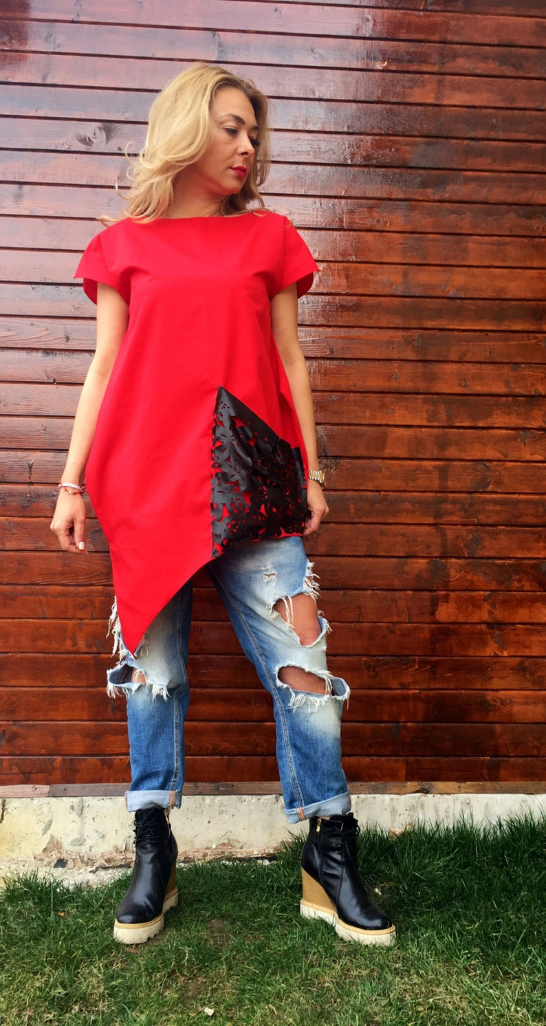Tunic red tunic cotton tunic kaftan caftantunic with leathermaxi tunic