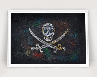 Pirate Flag, Hand-Painted Jolly Roger, Distressed Flag, Vintage, Mixed Media Art, Rustic, Industrial Style, Flag of Skull and Crossbones