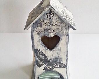 tea bags holder, tea house box, wooden tea box,  tea bag box , Christmas gift , tea bag storage, house-shaped box, tea house