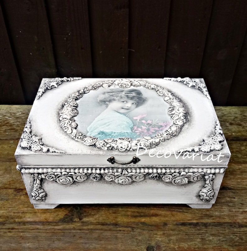 shabby chic jewellery box Gift For Her large jewellery box