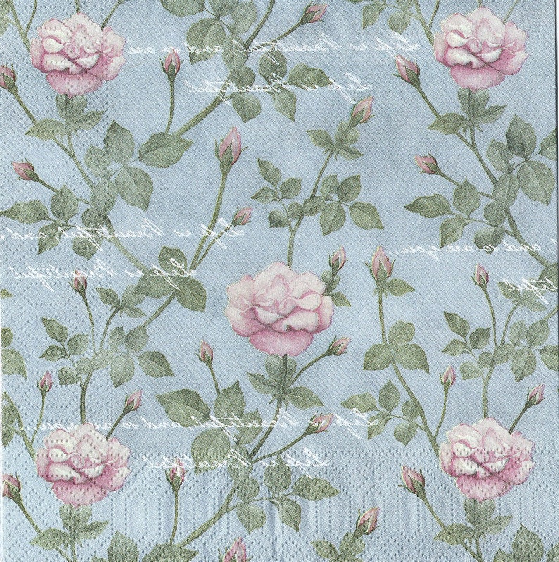 4x Designer PAPER NAPKINS for Decoupage Craft Party ROSE TREE
